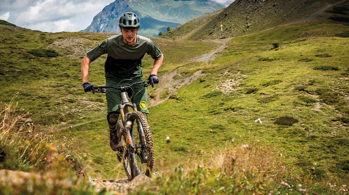 Mountain biker on hill