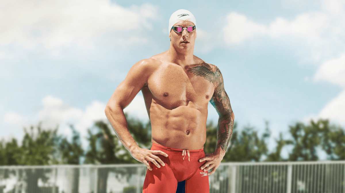Caeleb Dressel poses topless
