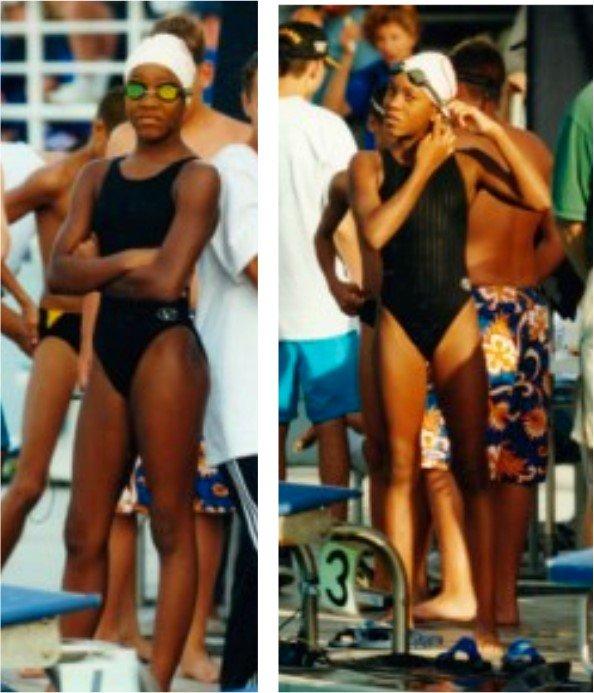 A young Alia Atkinson poses poolside