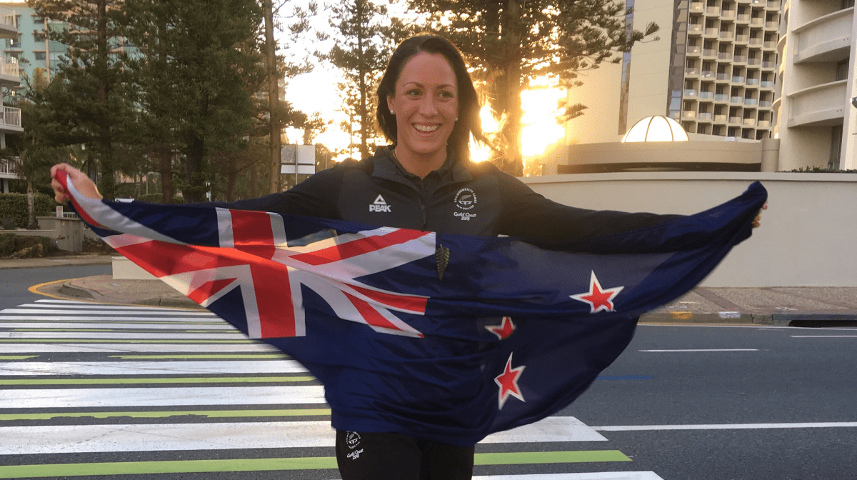 Sophie poses with NZ flag
