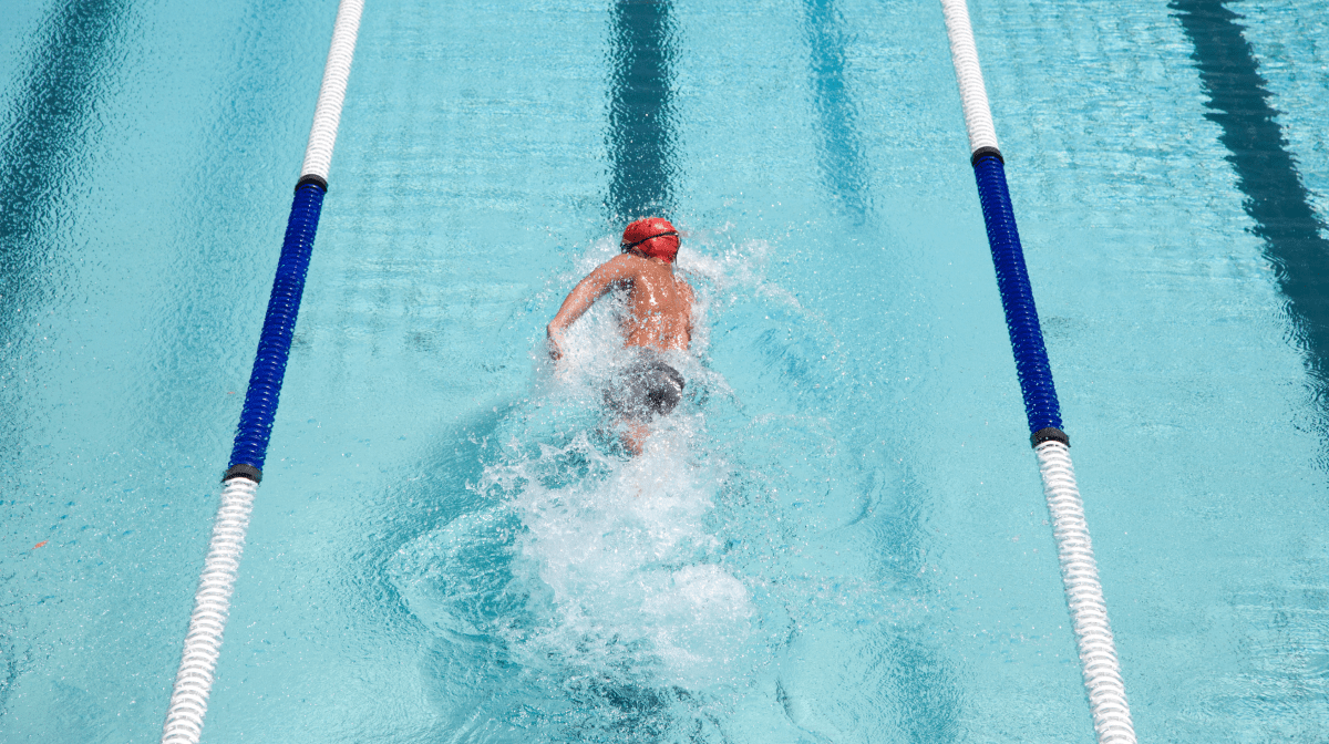 A swimmer in a pool