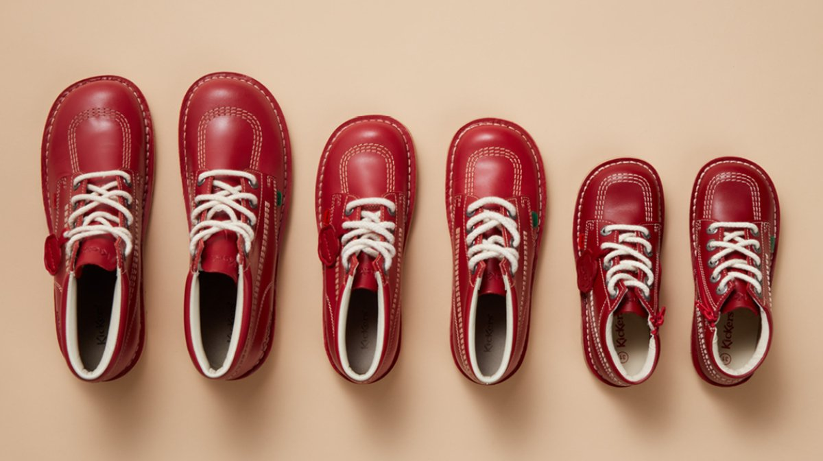 Red Leather shoes descending in size from left to right