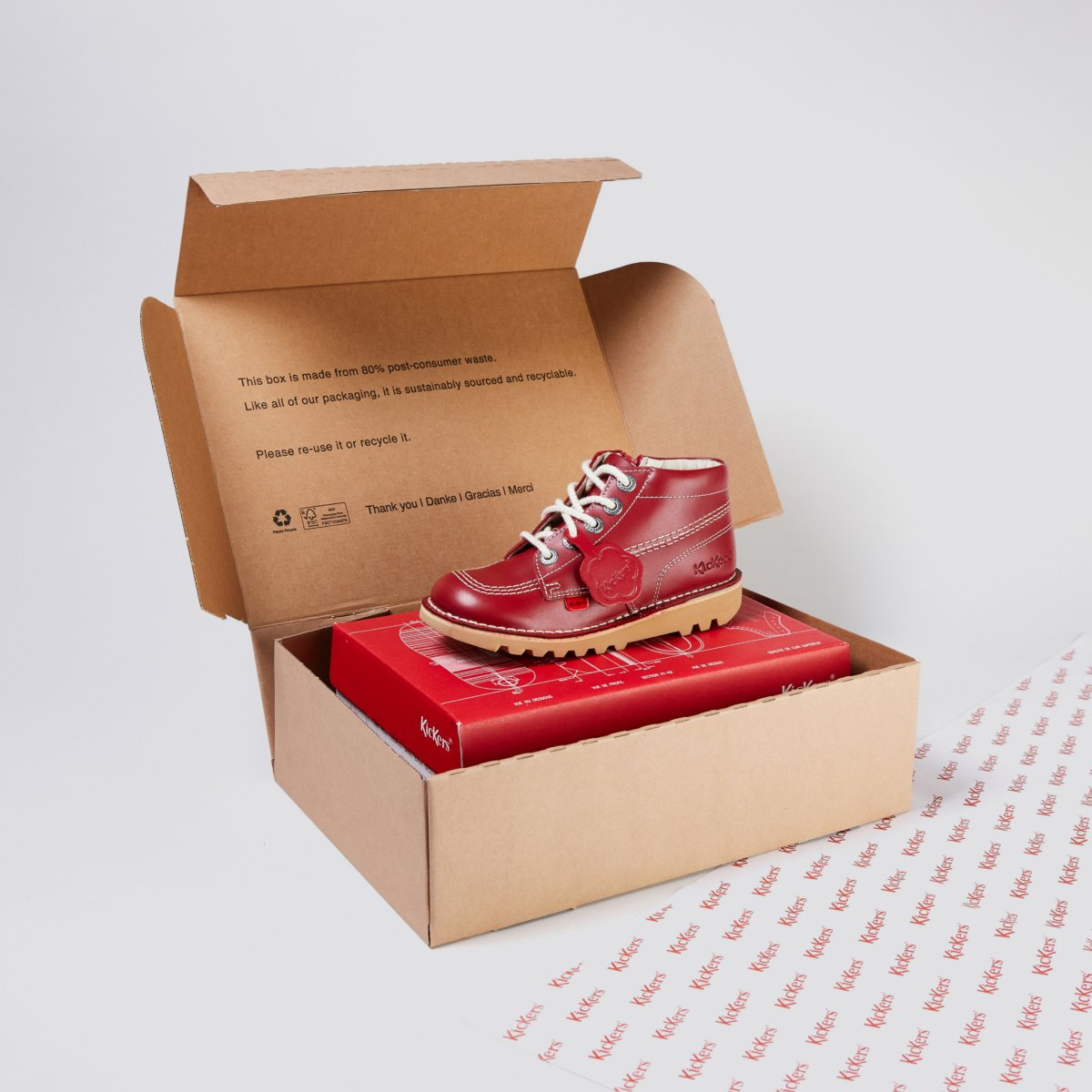 Kickers shoes rest on top of cardboard box