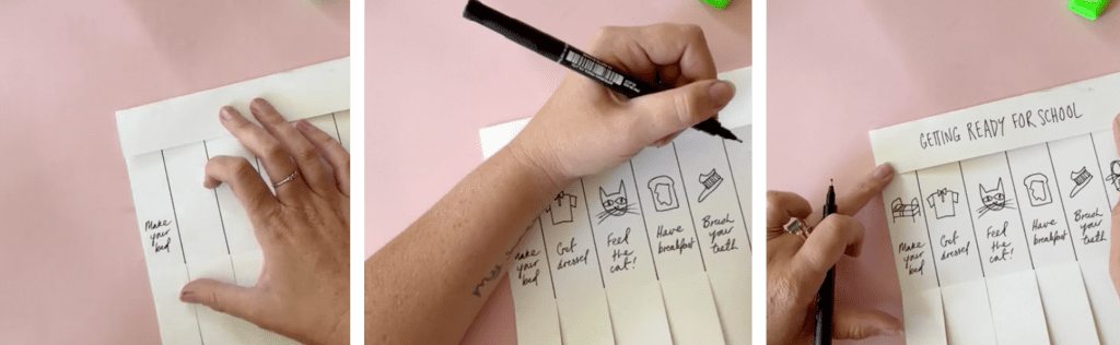 Pen drawing out the Kickers Back to School Morning Checklist