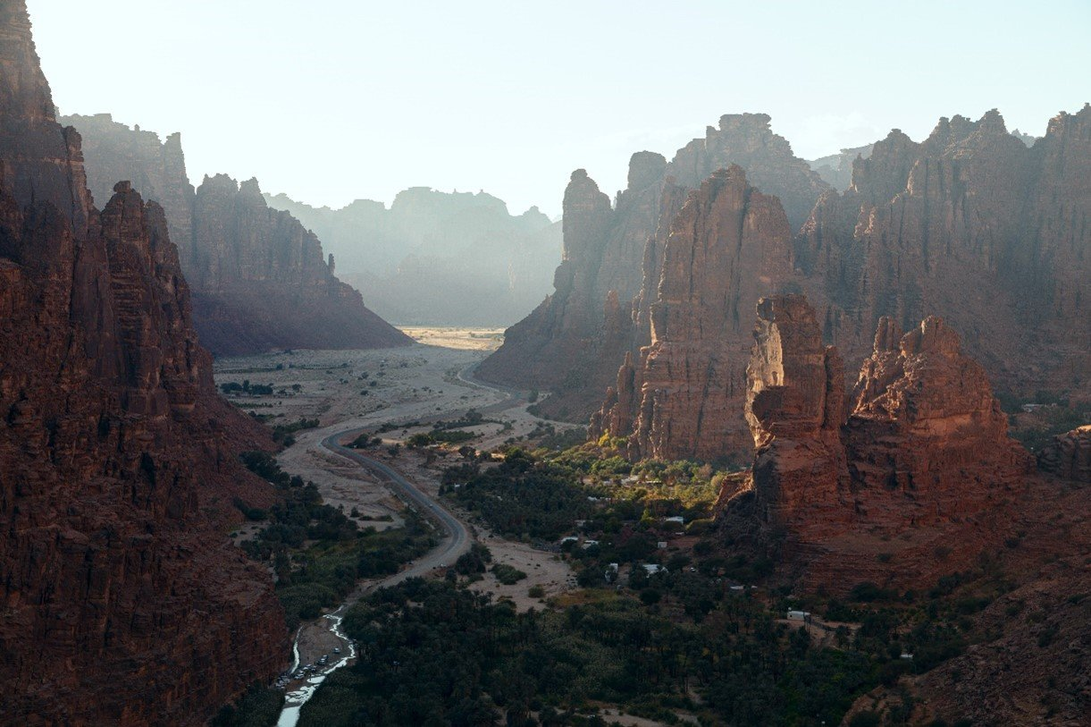 Saudi Arabian cliff faces stretch into the horizon