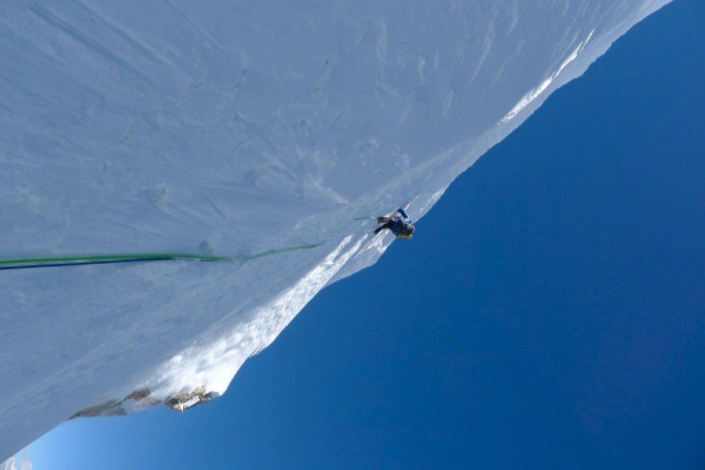 Mick Fowler climbing ice wall