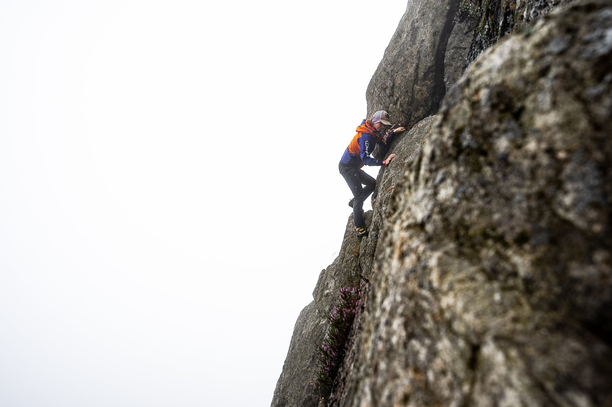 Anna tackles Grooved Arete, Tryfan