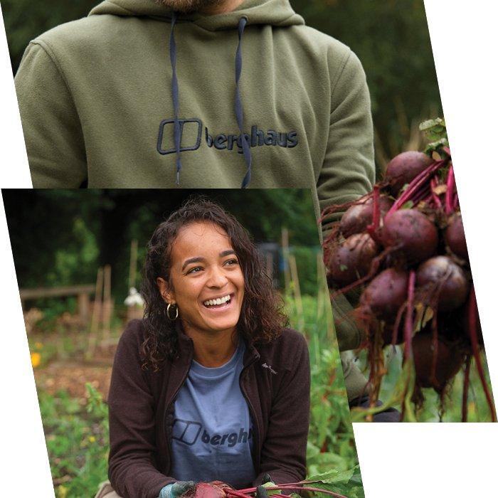 Woman smiles in blue Berghaus t-shirt