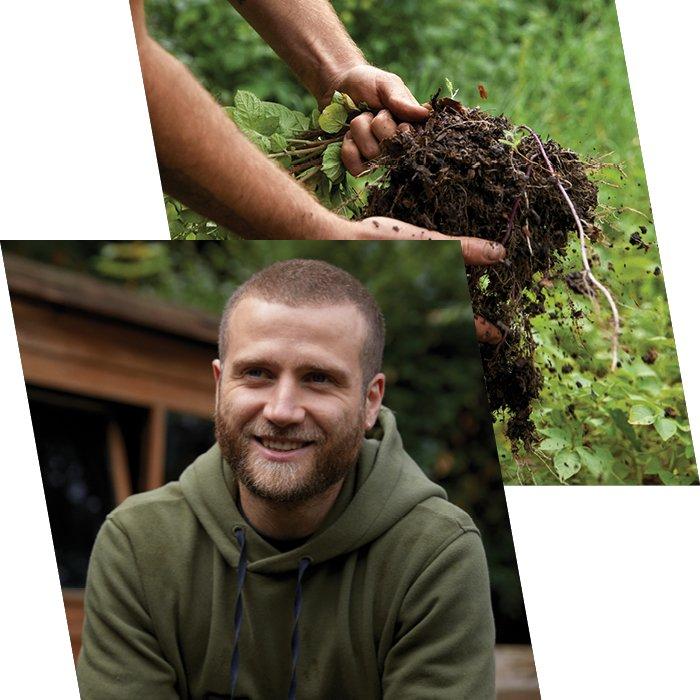 Man smiles in green Berghaus jumper