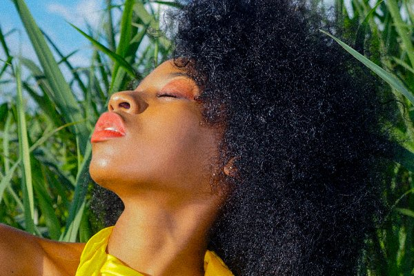 beautiful woman with afro hair