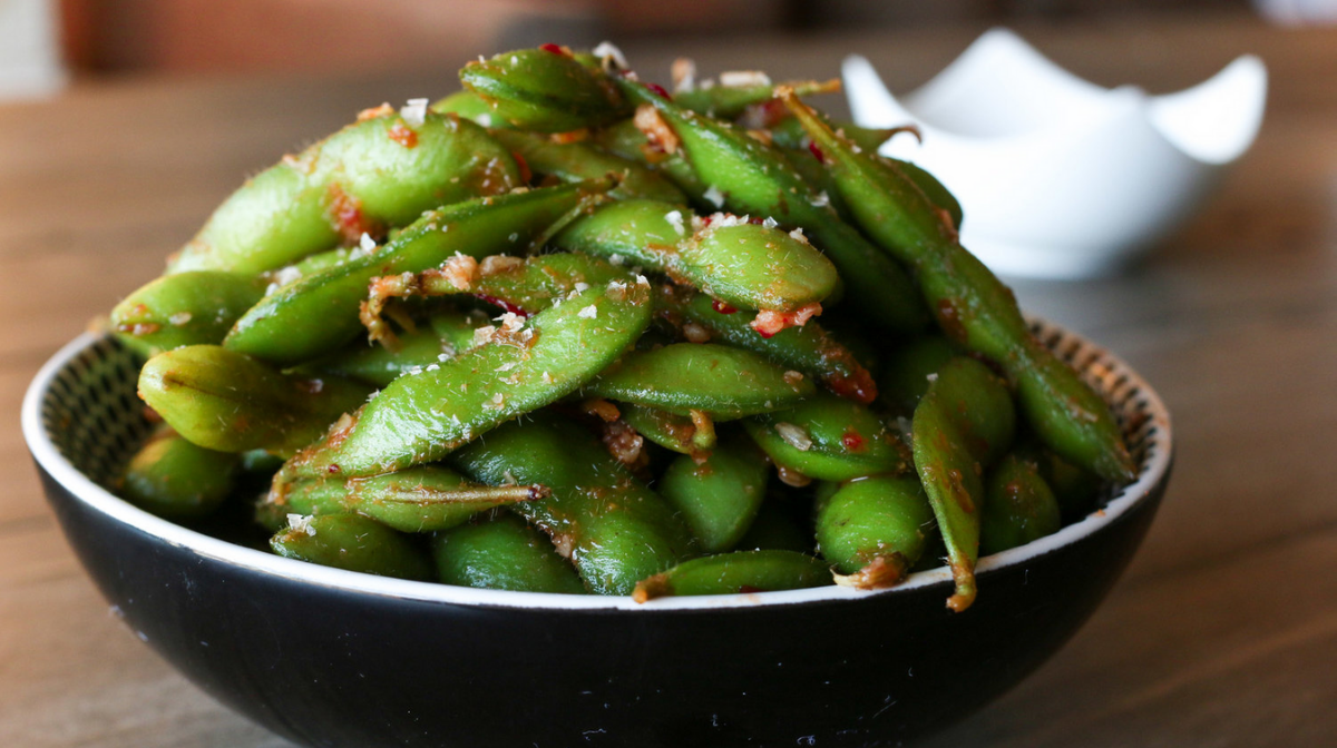 Chile-Garlic Edamames