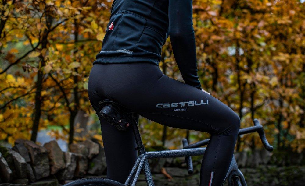 Man wearing Castelli Nano Flex winter tights 2019