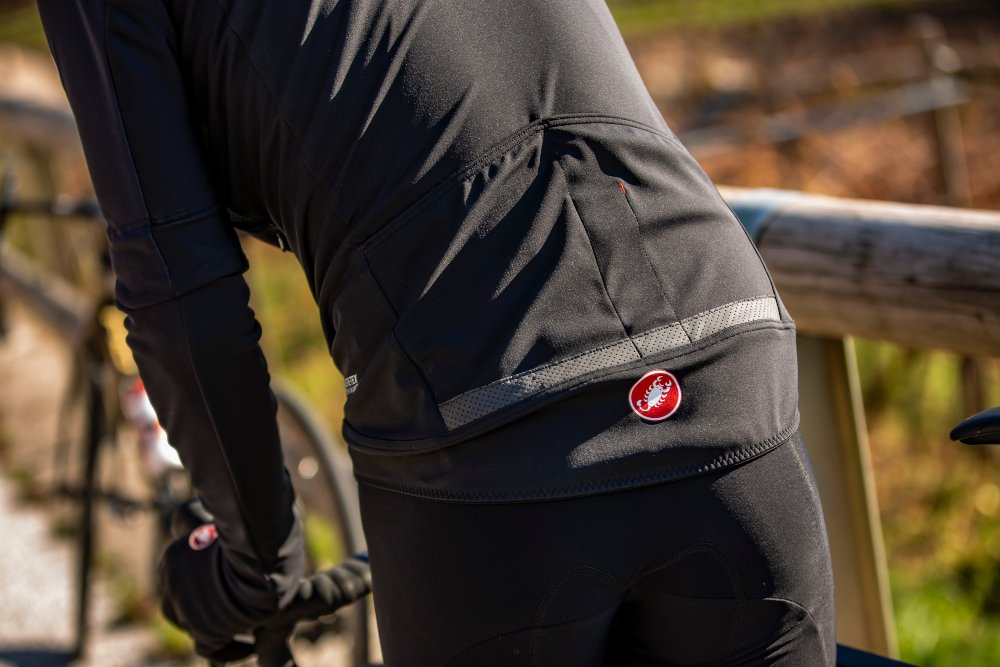 Close up of pockets on the back of a Castelli Gabba jacket