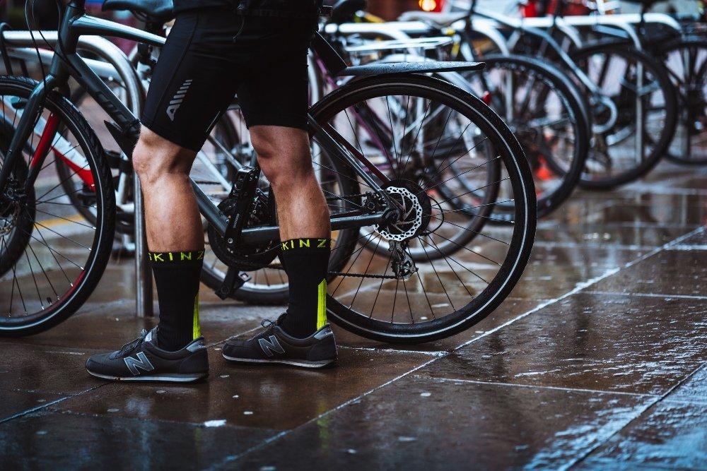Man wearing waterproof socks