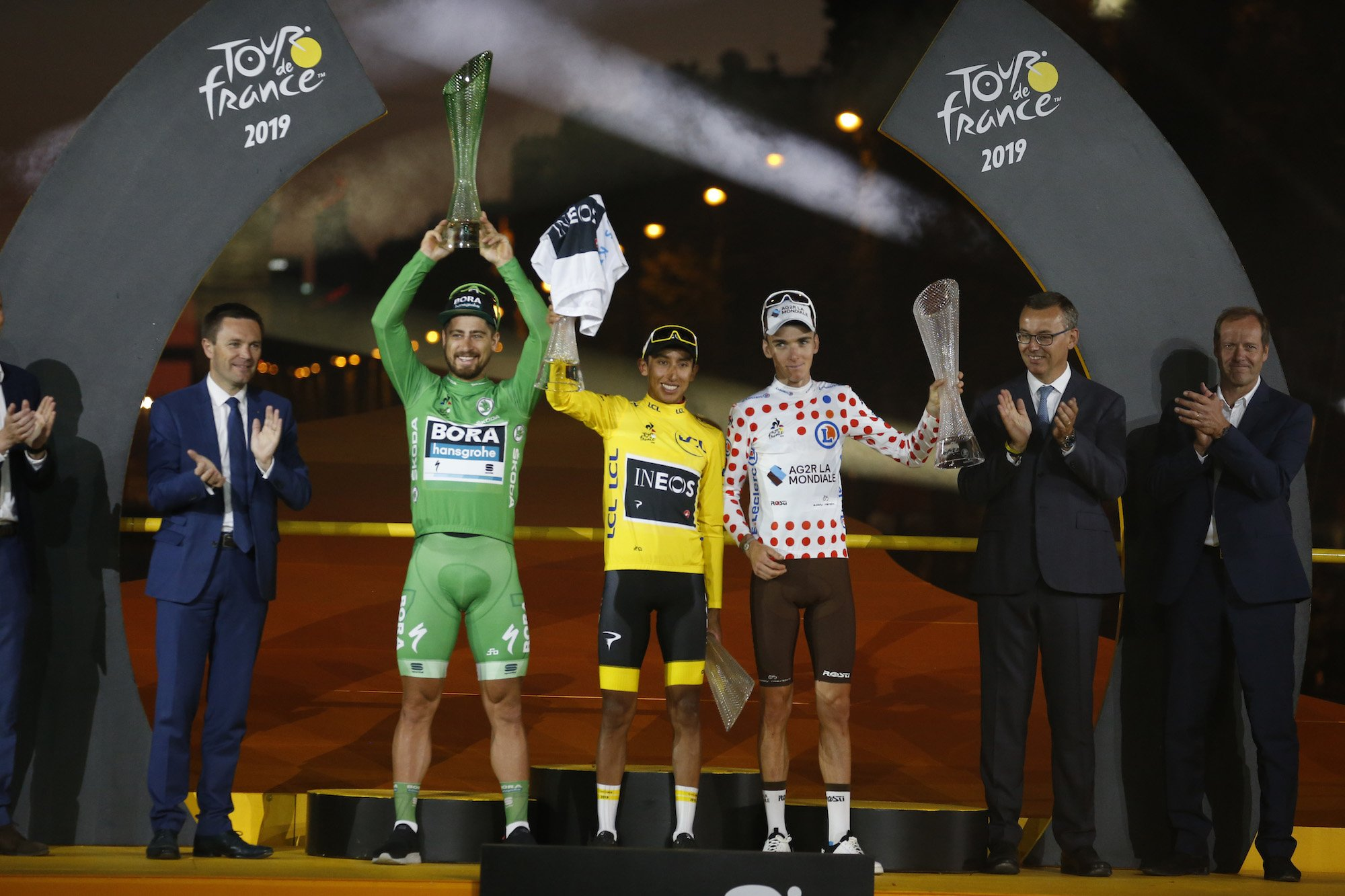 The memorable tour de france 2019 podium - Peter Sagan, Egan Bernal and Romain Bardet