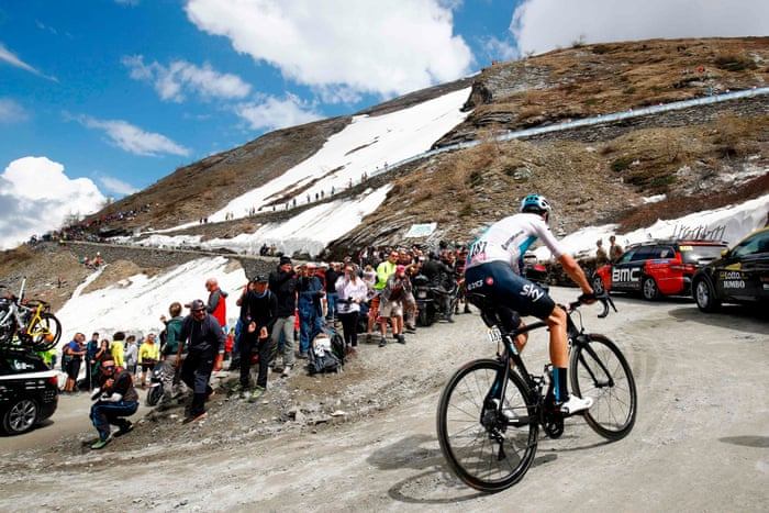 Chris Froome riding to a memorable victory up the Col De Finestre