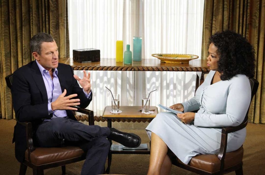 Lance Armstrong being interviewed by Oprah - one of the most memorable and important cycling moments of the last decade