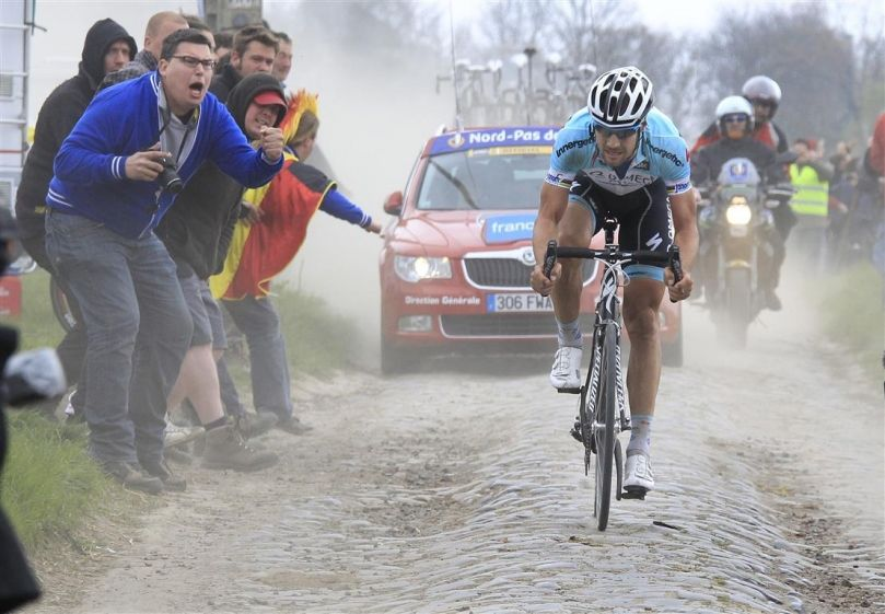 Tom Boonen winning Paris-Roubaix