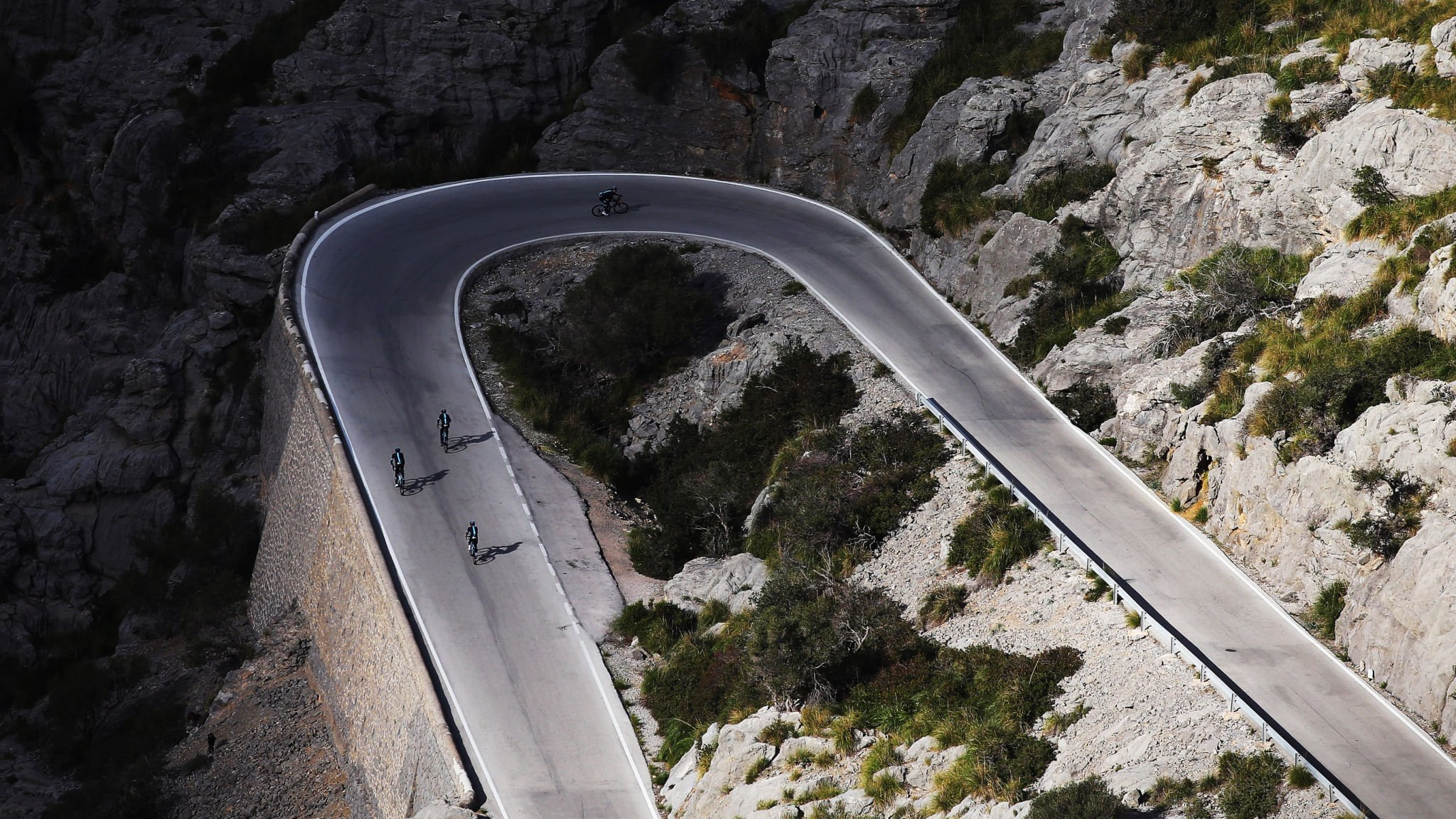 Team Sky riding up Sa Calobra, Mallorca