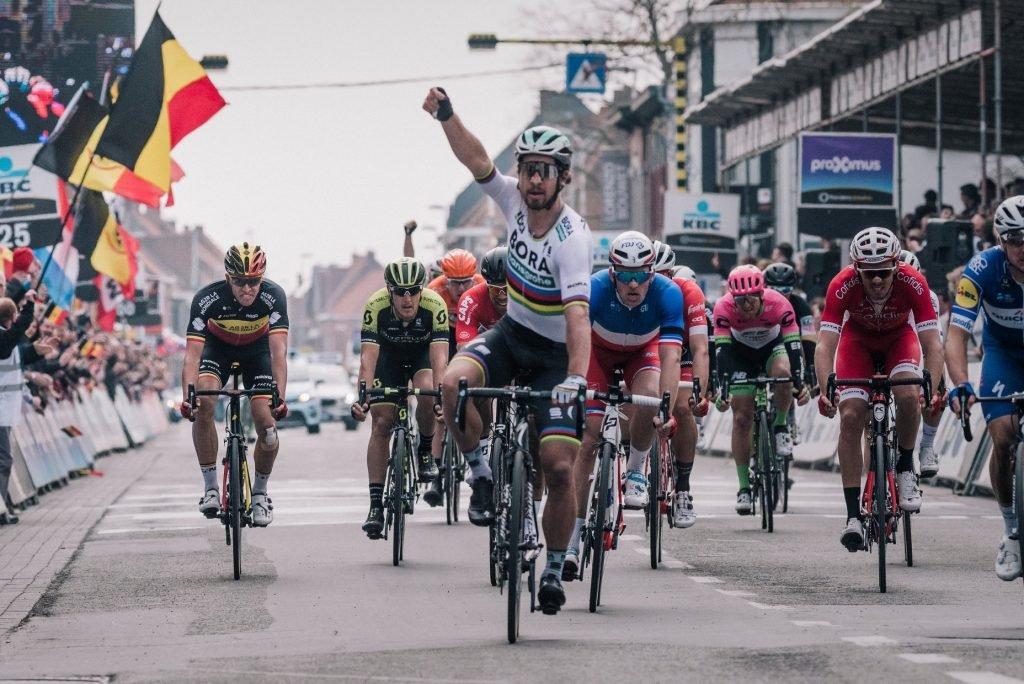 Sagan winning his third Ghent-Wevelgem