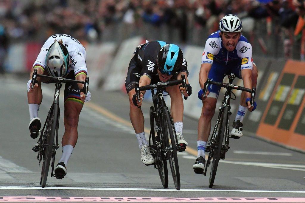 Sagan, Kwiatkowski & Alaphilippe sprint for the line at Milan-San Remo 2017