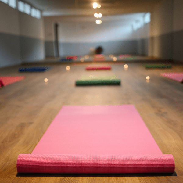 yoga mats on floor in gym