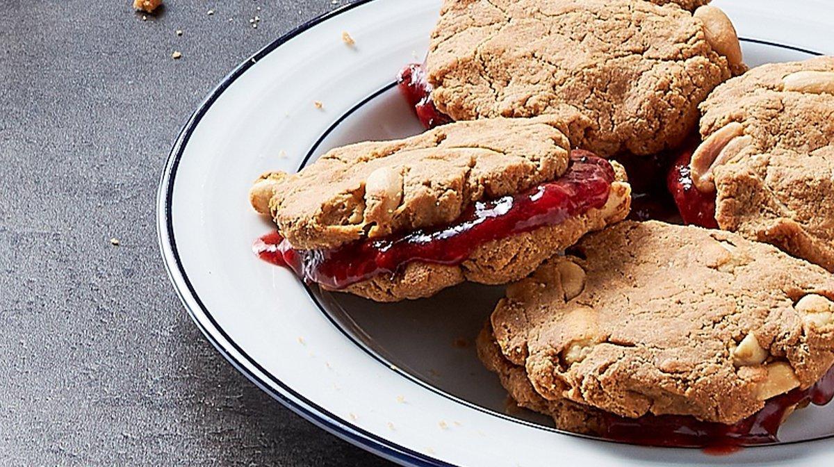 Σάντουιτς μπισκότων με φυστικοβούτυρο με υψηλή περιεκτικότητα σε πρωτεΐνες