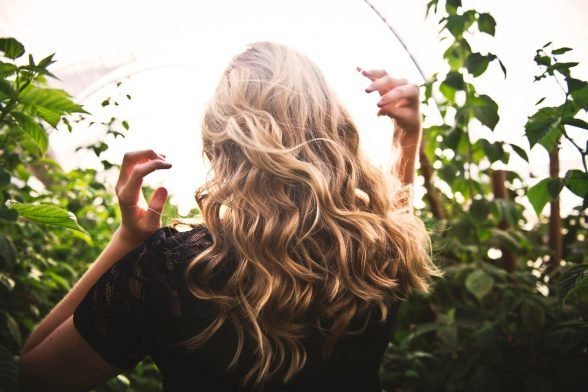 Woman with beach waves