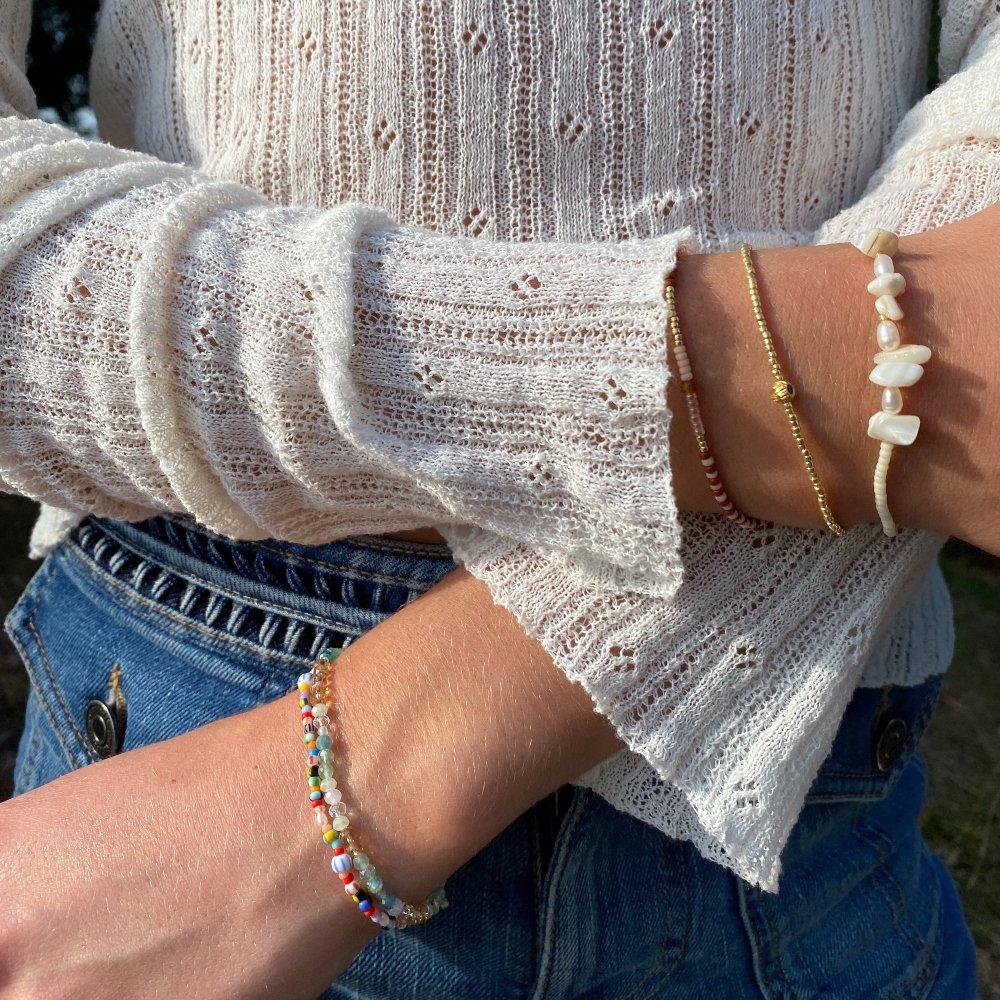 Clara wearing Anni Lu bracelets
