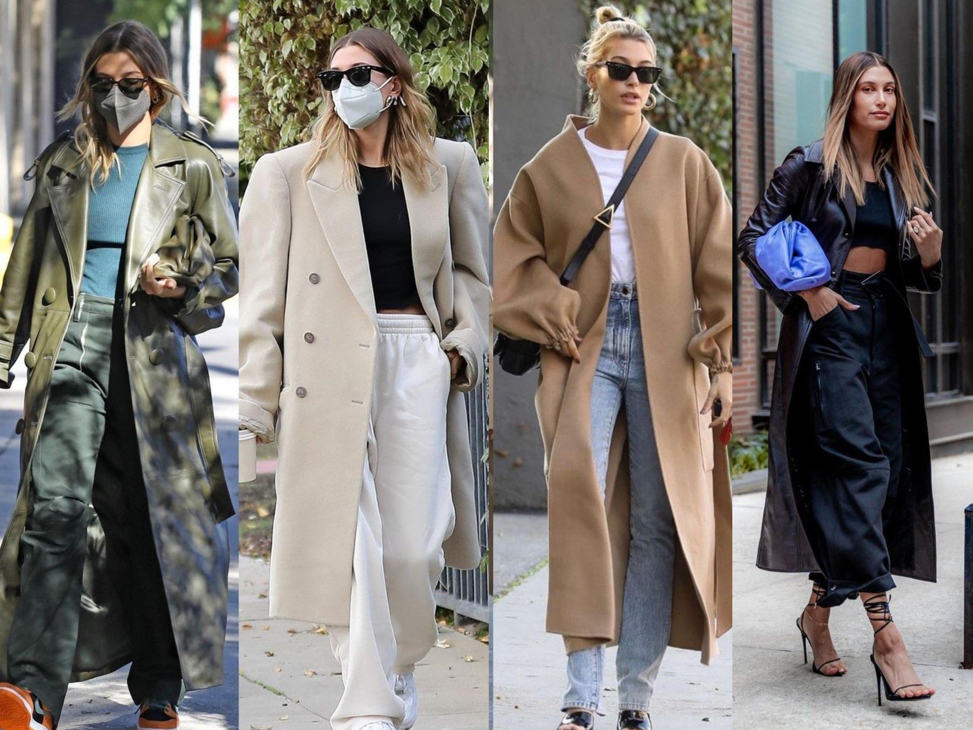 Hailey Baldwin Bieber wearing long coats