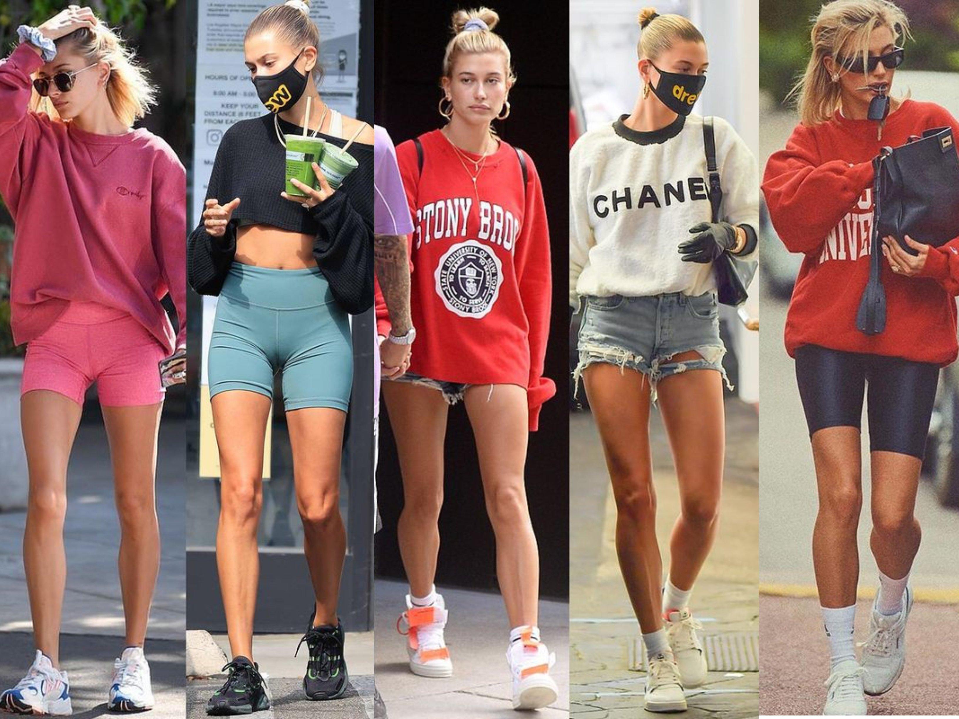Hailey Baldwin Bieber wearing sport wear