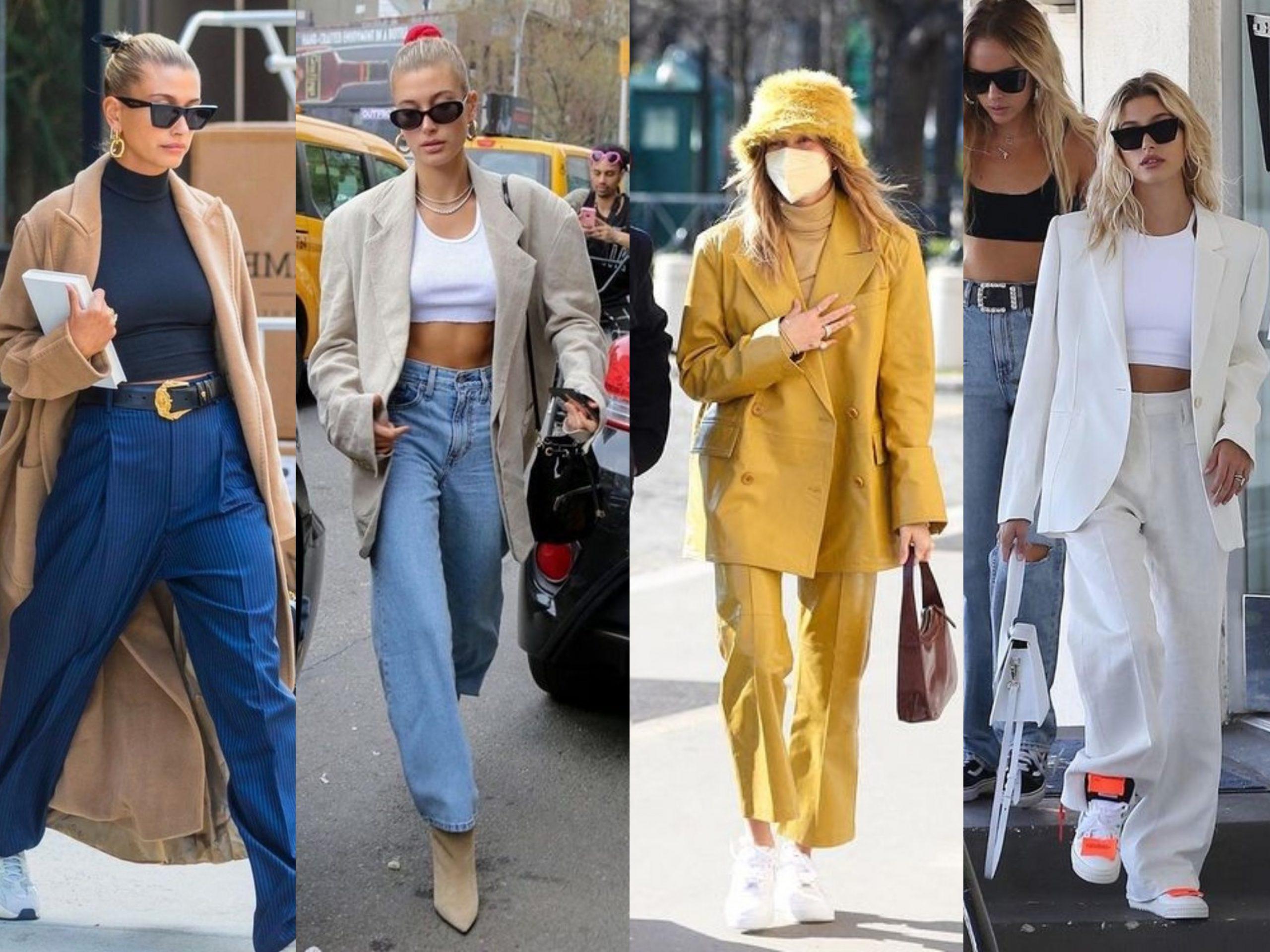 Hailey Baldwin Bieber wearing suit styles
