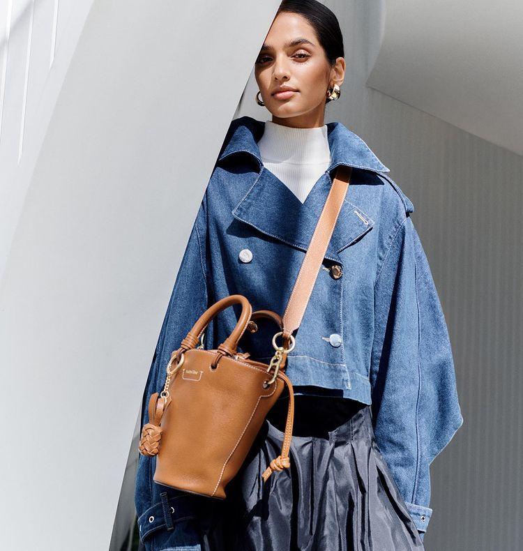 Anjali Torvi wearing See By Chloe Bucket Bag