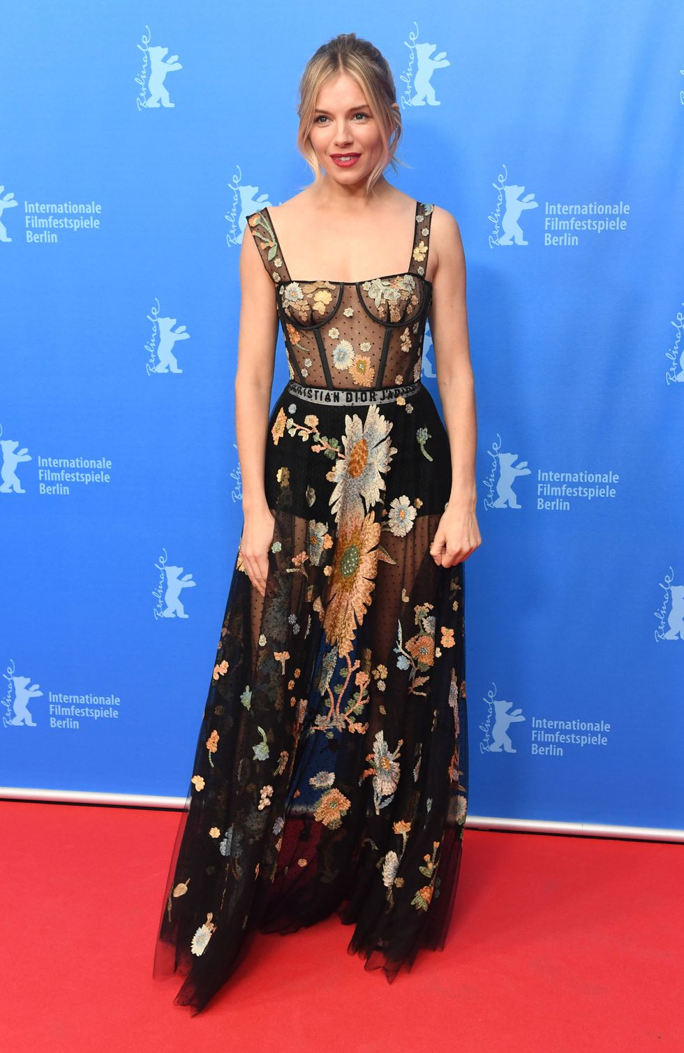 Actress photographed in a Dior dress on the red carpet