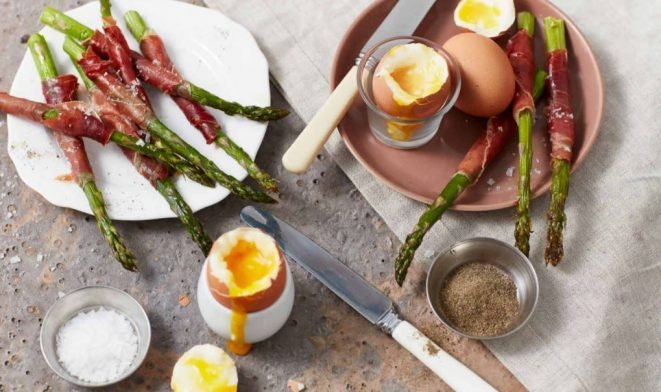 Parma Ham Wrapped Asparagus with Dippy Eggs Recipe
