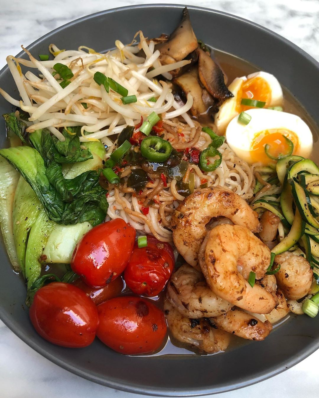 Low Calorie Prawn Miso Ramen Bowl