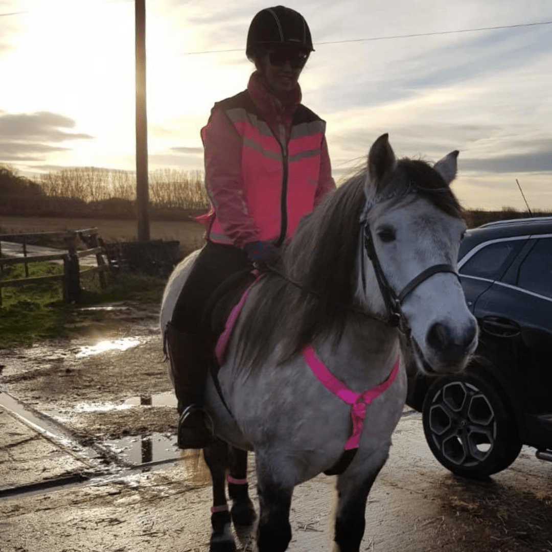 Maddy is now able to ride her horse again