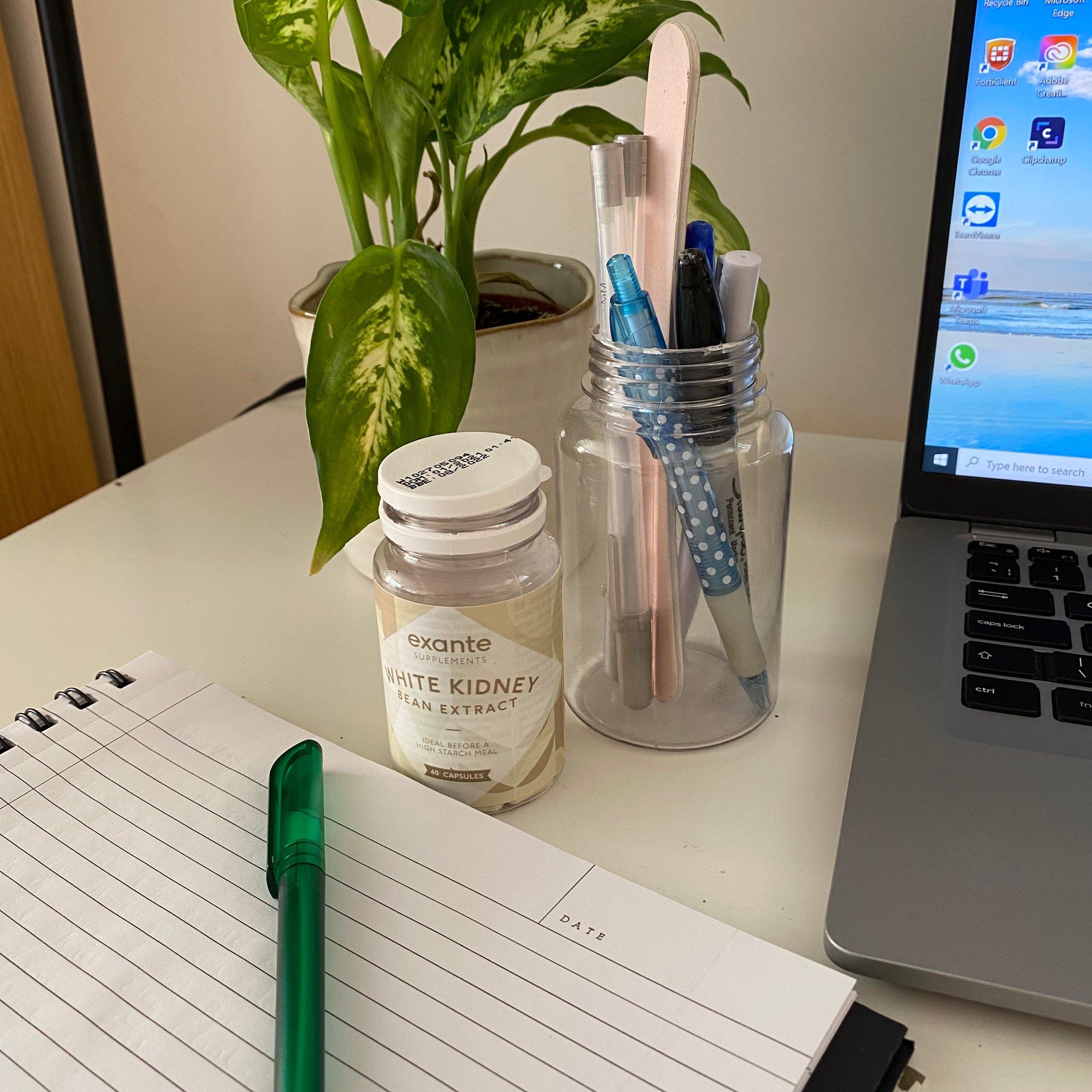 exante Supplements pot as a pencil holder