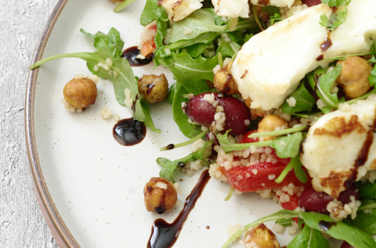 Dietitian Chef K's Grilled Halloumi Salad with Roasted Peppers and Cous Cous