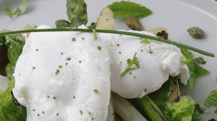 Dietitian Chef K's Poached Eggs with Asparagus, Mangetout and Warm Baby Corn Salad