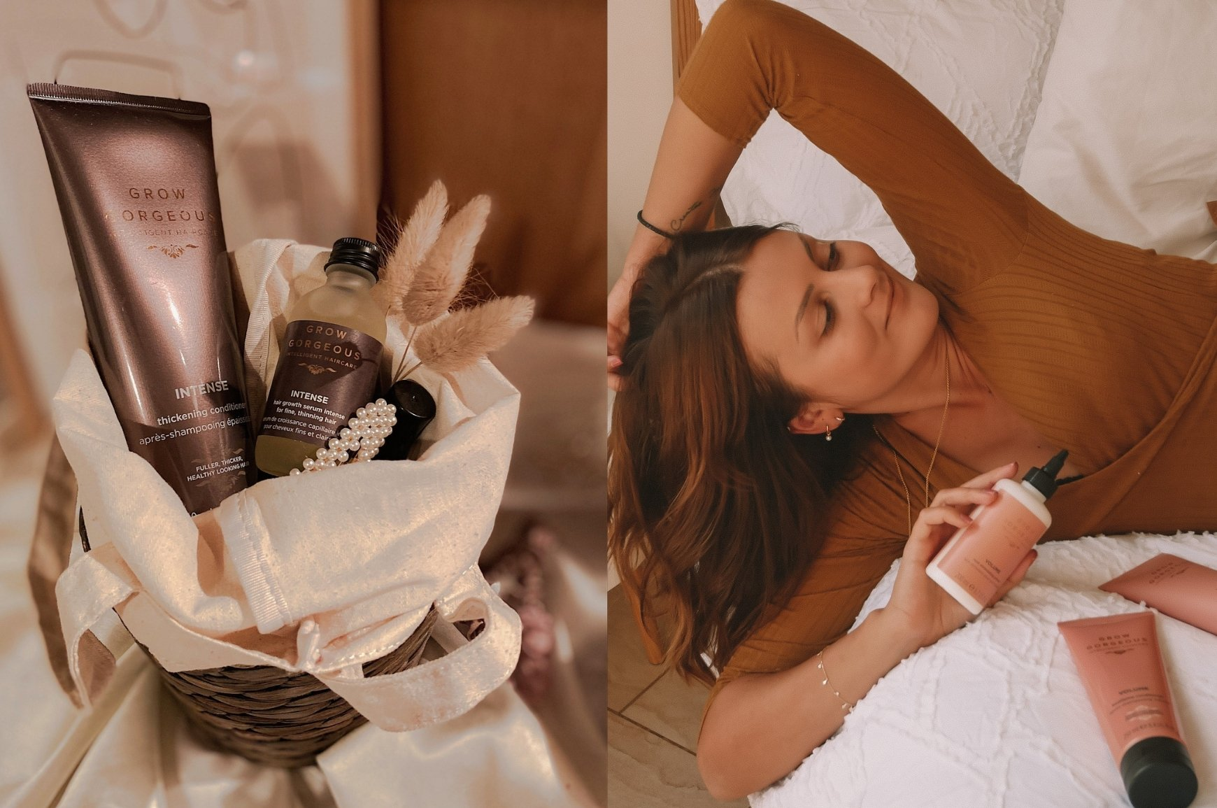 A wicker basket with cream lining containing Grow Gorgeous Intense Thickening Conditioner and Intense Hair Growth Serum. Girl relaxing on a bed with white sheets holding Grow Gorgeous Volume Root Stimulating Primer.