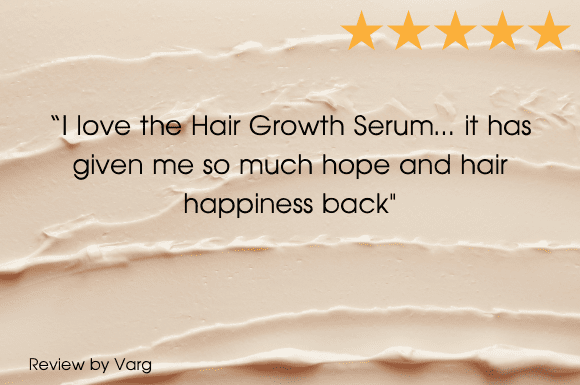 A 5 star review from Varg for the Grow Gorgeous Intense Range with text