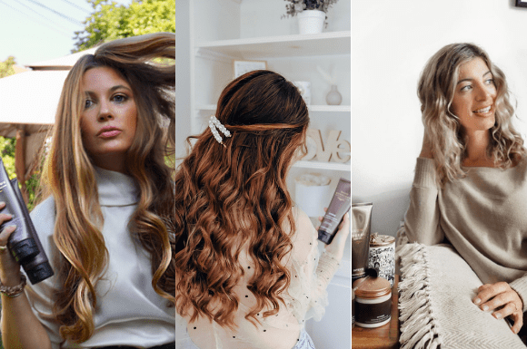 3 women using the Grow Gorgeous Intense Range with wavy hair