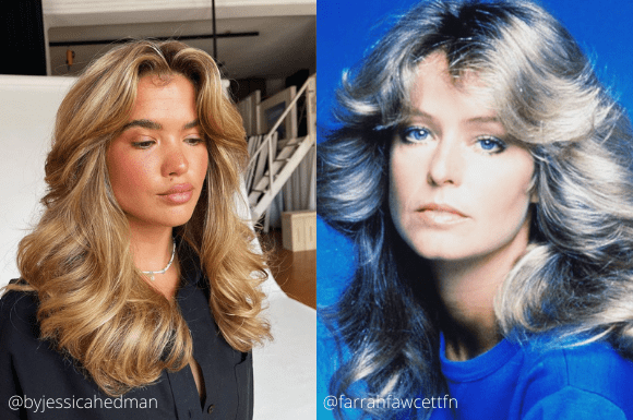 Matilda Djerf with face framing curtain bangs and Charlie's Angel Farrah Fawcett showing 70s hair inspiration