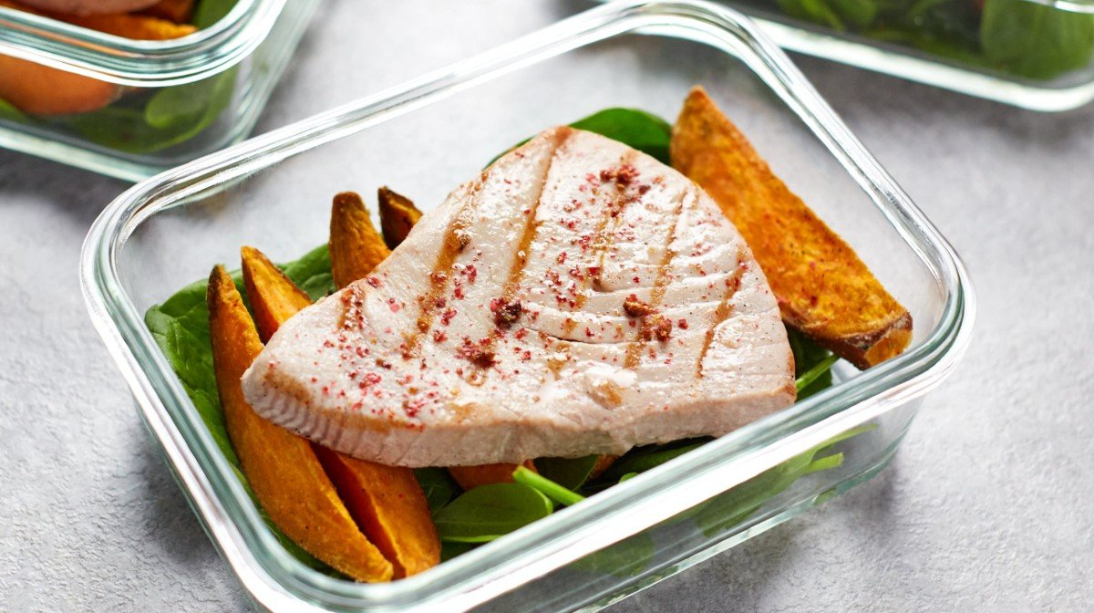 Tun steak opskrift | Seared tun med søde kartoffelbåde meal prep