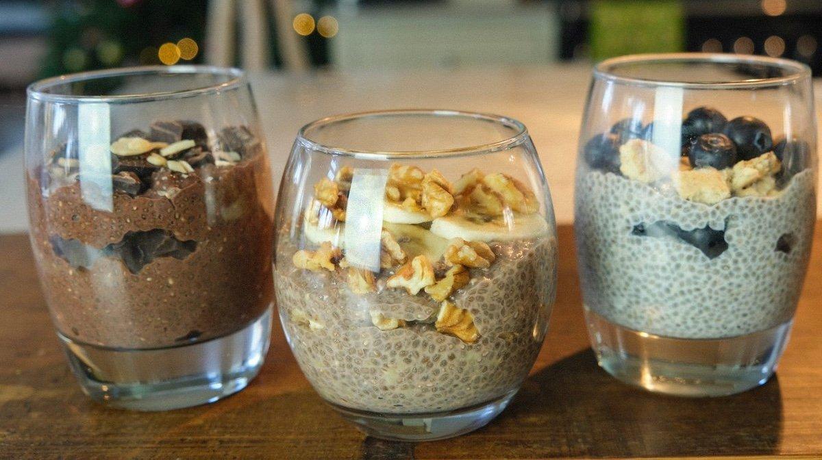 Chiagrød på 3 måder | Morgenmad med proteiner