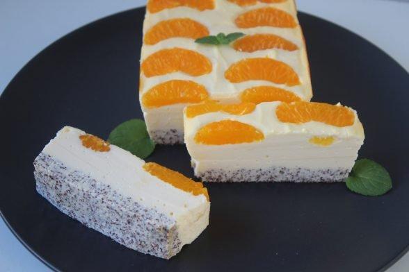Proteinreicher Mohn-Mandarinen Käsekuchen