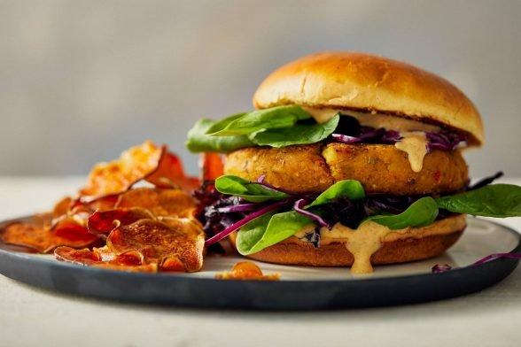 Würziger Kichererbsen Burger | Veganes Rezept
