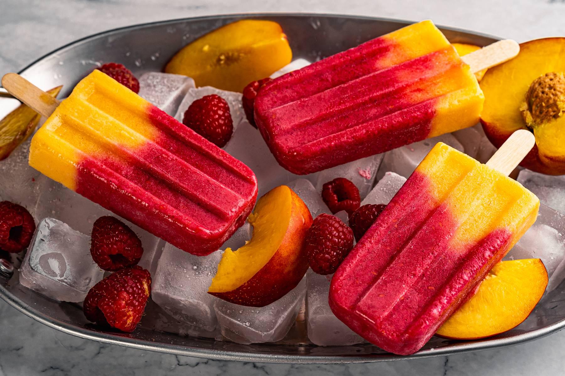 Himbeer Pfirsich Protein Eis   Die erfrischende Abkühlung