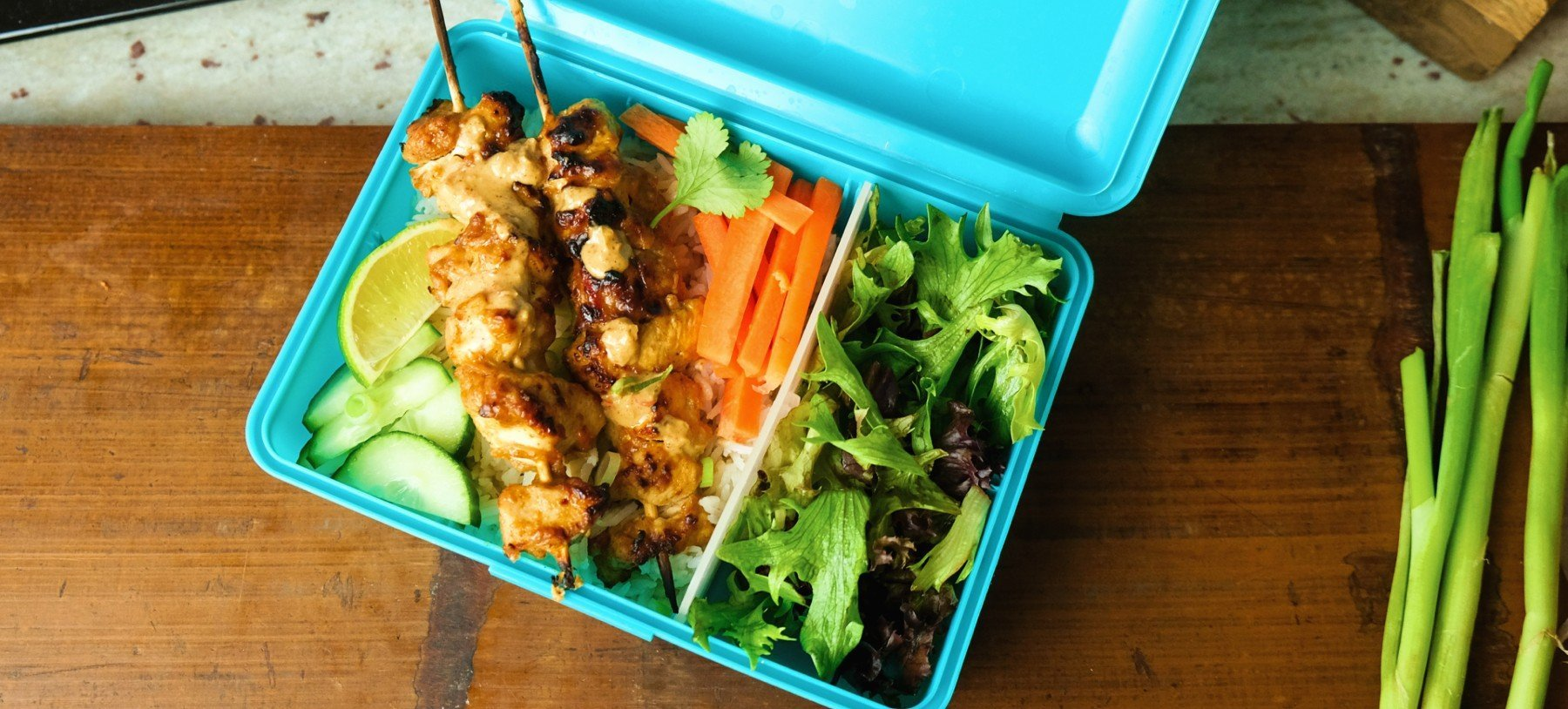 Super einfaches Chicken Satay Meal Prep